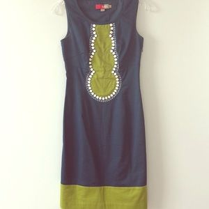Boden: fitted shift dress with front design